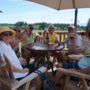 wine tasting on the deck at Beaufort Winery