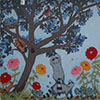 painting of a tree, raccoons, and flowers
